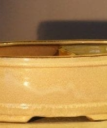 Beige Ceramic Bonsai Pot Land/Water Divider 10 x 8 x 3.75