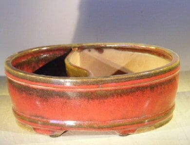 Parisian Red Ceramic Bonsai Pot - Oval Land/Water Divider 10 x 8 x 3.75