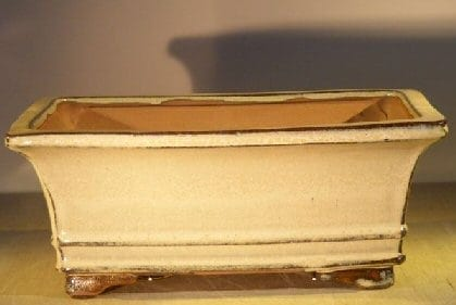 Beige Ceramic Bonsai Pot - Rectangle Professional Series 10 x 8 x 4