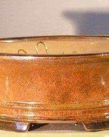 Aztec Orange Ceramic Bonsai Pot - Oval Professional Series 10 x 8 x 4