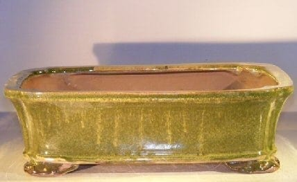 Green Drip Ceramic Bonsai Pot - Rectangle 12.0 x 9.5 x 3.375