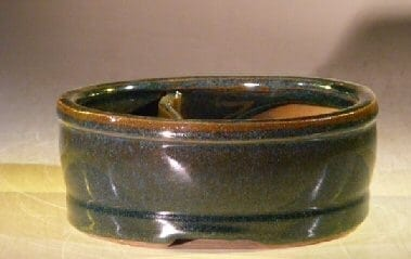 Green Ceramic Bonsai Pot - Oval Land/Water Divider 6.25 x 5.25 x 2.5