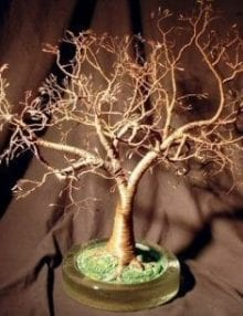 Wire Bonsai Tree Sculpture For Sale - Copper Oak With Hammered Leaves 19Hx18Wx18D