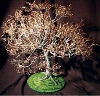 Wire Bonsai Tree Sculpture For Sale - Dogwood on Lawn 19Hx19Wx21D
