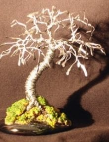 Wire Bonsai Tree Sculpture For Sale Hammered Leaves Mini Tree - 4x4x4