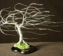Wire Bonsai Tree Sculpture For Sale Windswept Mini Tree - 4x5x5