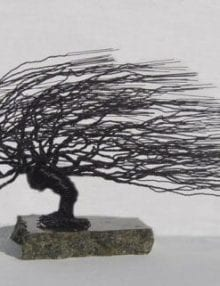 Wire Bonsai Tree Sculpture For Sale - Windswept Style